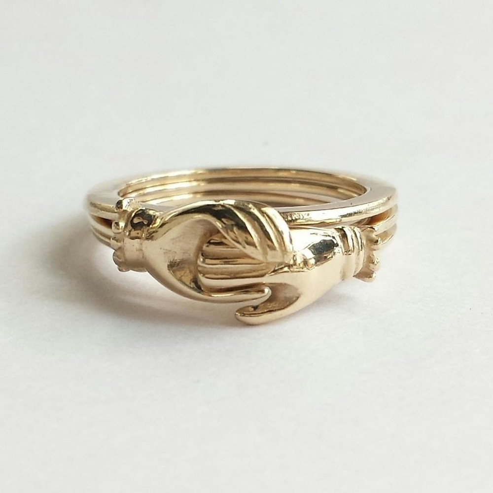 Antique fede ring, precursor to the Claddagh ring