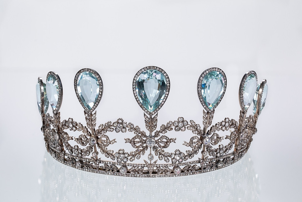 A beautiful aquamarine and diamond tiara from Faberge