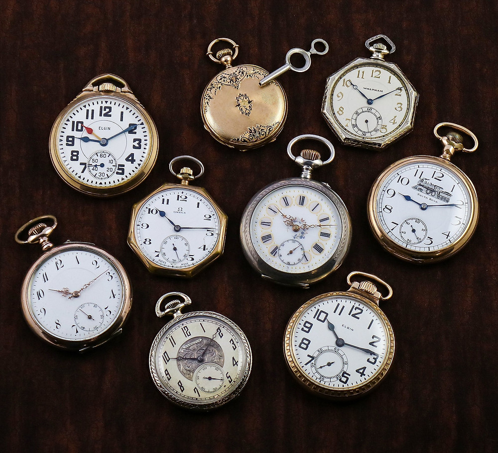 Assortment of antique pocket watches