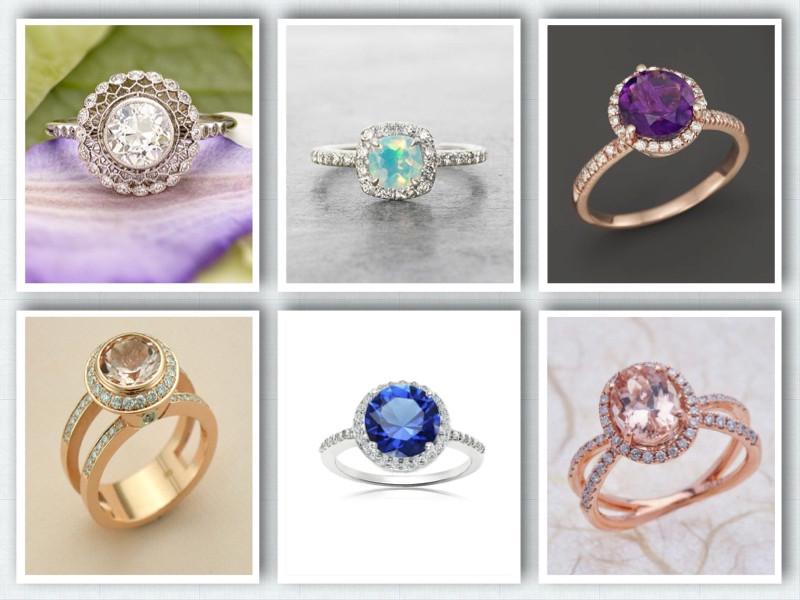 Assortment of modern halo rings