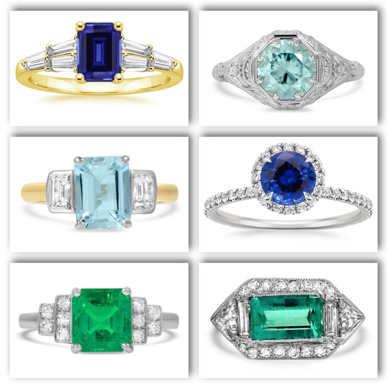 Variety of engagement rings with colored gemstones as the center stone