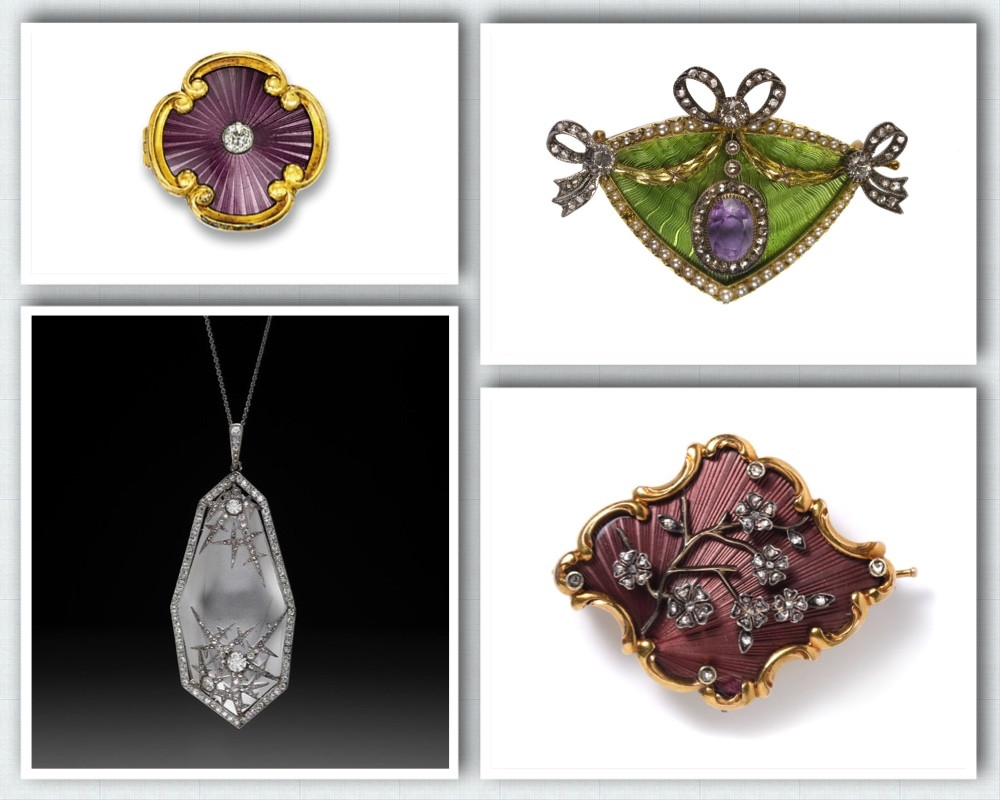 Brooches and a necklace from Faberge