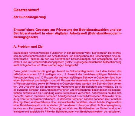 Betriebsrätemodernisierungsgesetz: Der verabschiedete Entwurf im Originalwortlaut