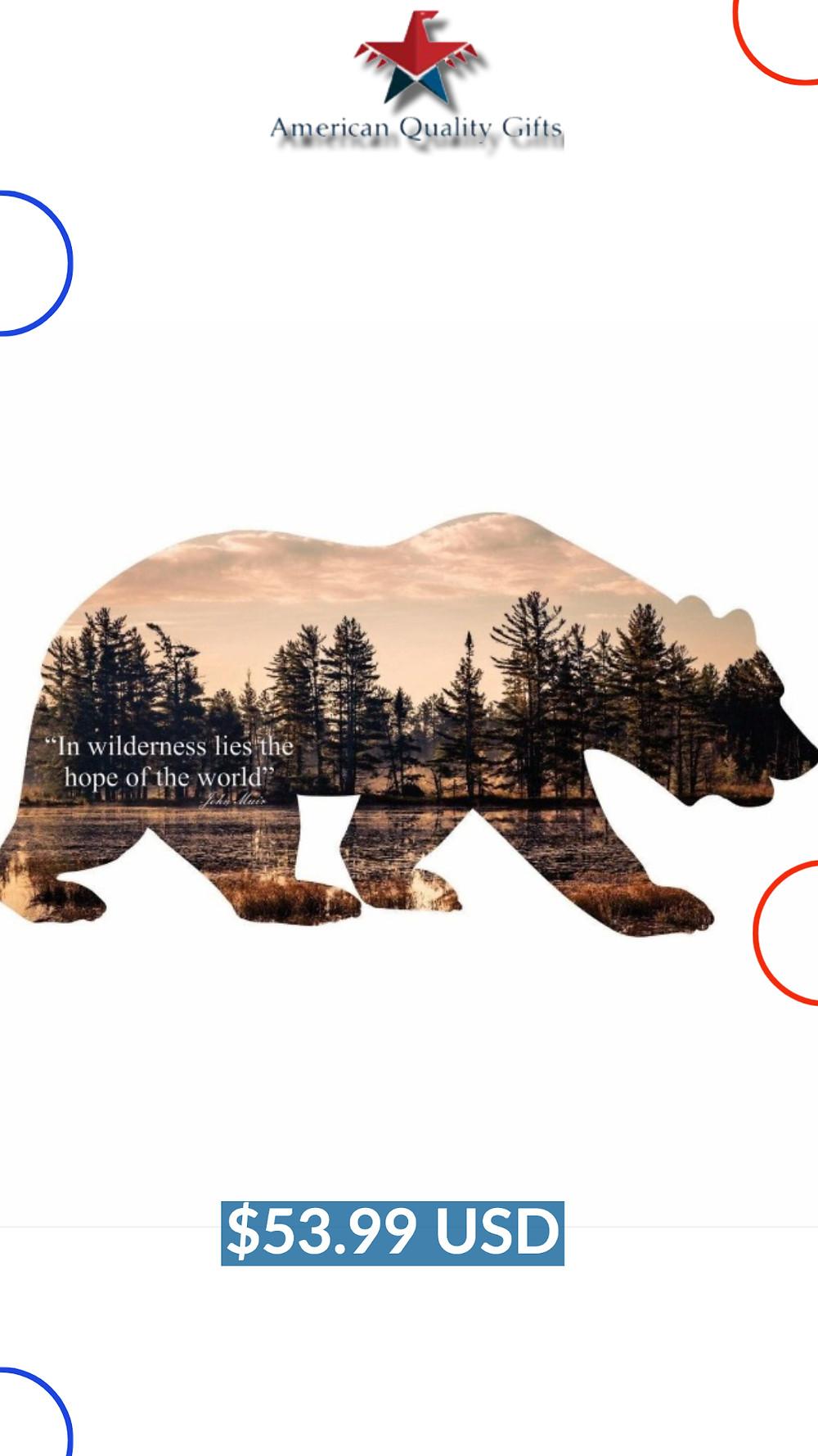 Bear Silhouette Steel Imagery Metal Wall Decor