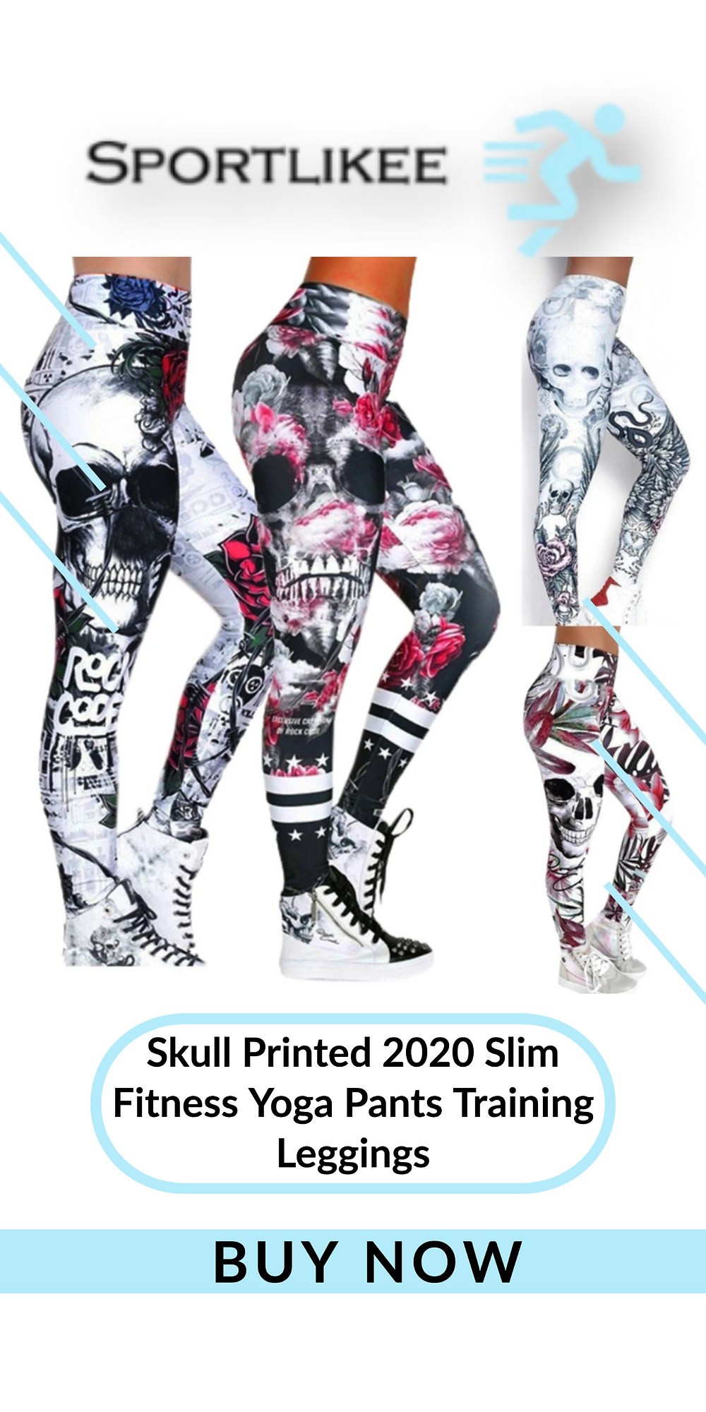 Skull Printed 2020 Slim Fitness Yoga Pants Training Leggings