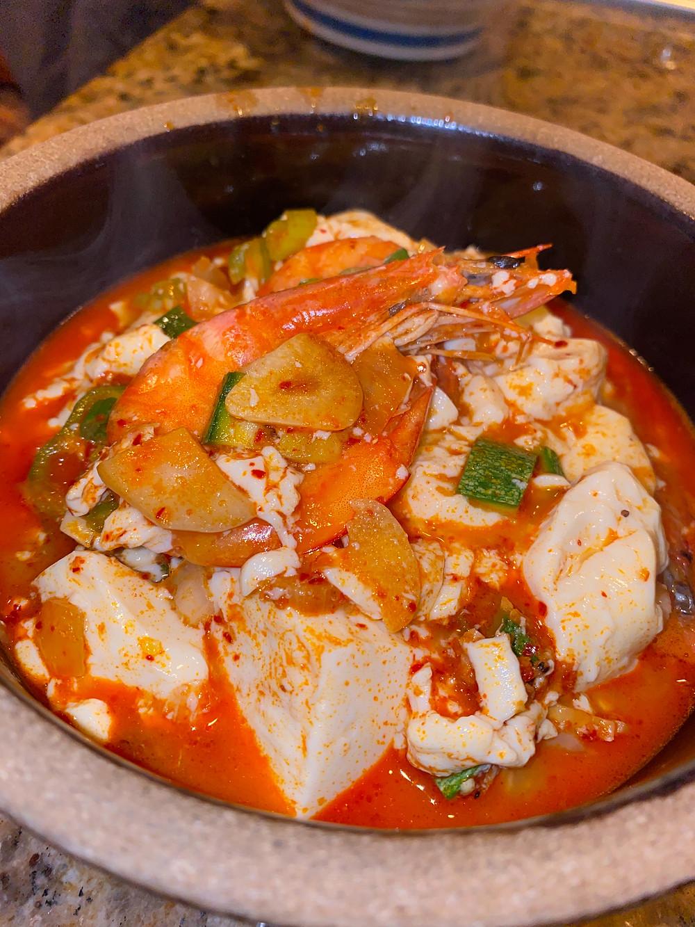 Spicy Korean Soft Tofu Stew with Shrimp