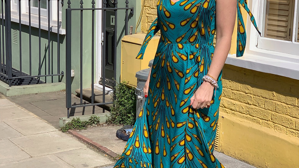 Sophie Dress in Turquoise & Mustard Print