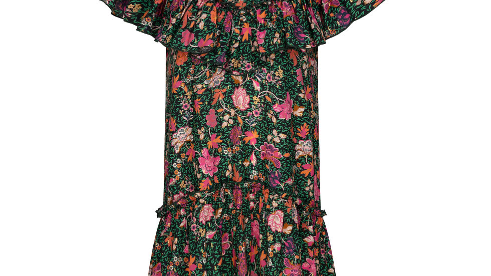Collette Mini Dress in Green & Pink Floral