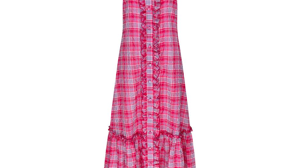 Kiki Dress Maxi in Pink Gingahm