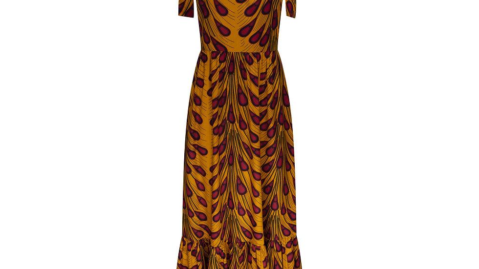 Sophie Dress in Mustard & Burgundy Print