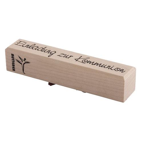 Holz Stempel Einladung zur Kommunion, 2x10cm