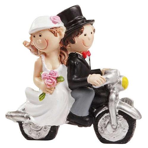 Hochzeitspaar m. Motorrad 6x5cm