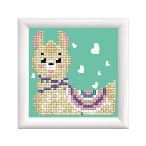 DD mit Rahmen weiss, Llama Heart, 9.5x9.5cm