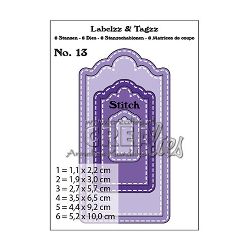 Crealies  Labelzz & Tagzz  Stanzschablone no.13 Labels und Tags