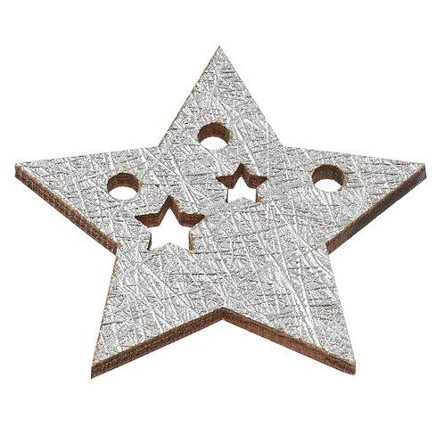 Holzstreuteile Stern 4cm, silber, 6St