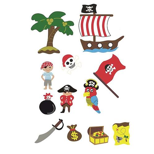 Moosgummi Sticker Piraten, 36St selbstklebend