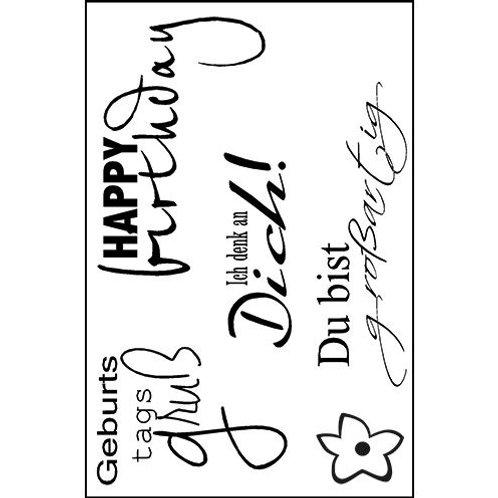 Stempel Clear, Geburtstagsgruss, A7, 5-teilig, transparent