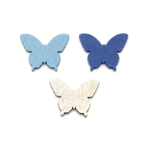 Holz Streuteile Schmetterlinge 2cm 18St