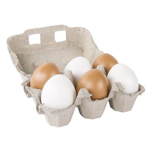 Set Plastik Eier braun/weiß, 6cm ø sortiert in Eierkarton, Box 6Stück