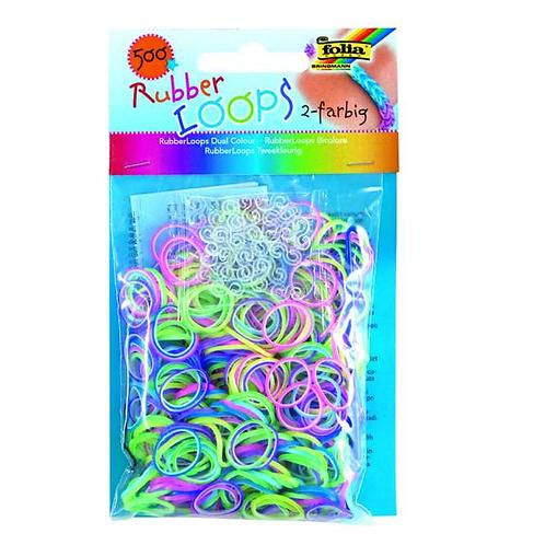 Rubber Loops 500St. ZWEIFARBIG inkl 25 S-Klipse /Häkelnadel