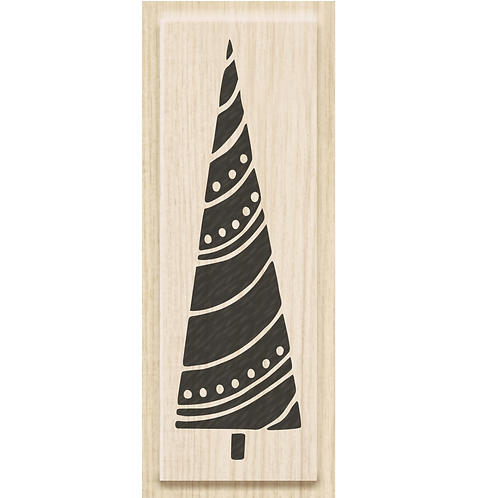 """Holz Stempel Weihnachten """"Baum mit Girlande"""" Motivgrösse 2.1x7cm"""