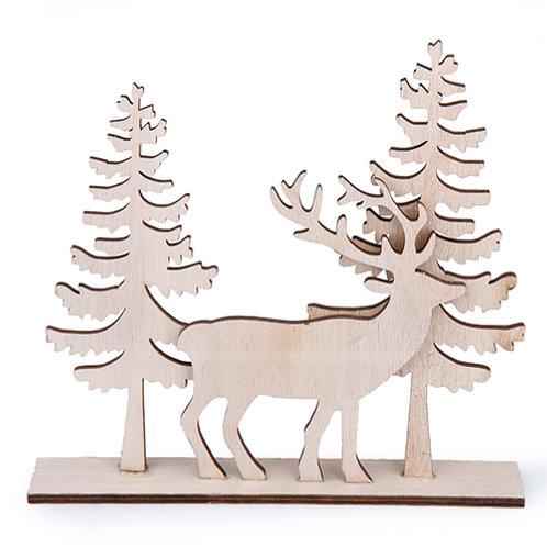 Hirsch / Tannenbaum Holz 18,5 x 20 cm natur