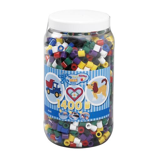 Dose mit Maxi Perlen 10mm, 1400 Perlen Mix 00 (7 Farben)