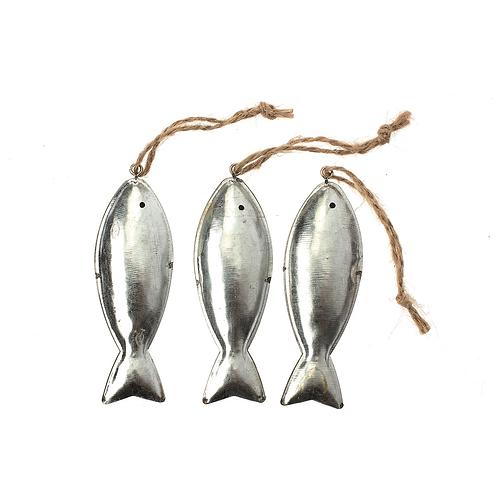 Fische aus Metall 9.5x2.3cm 3St