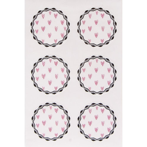 Sticker rosa Herzen, 3,5cm ø SB-Btl 24Stück