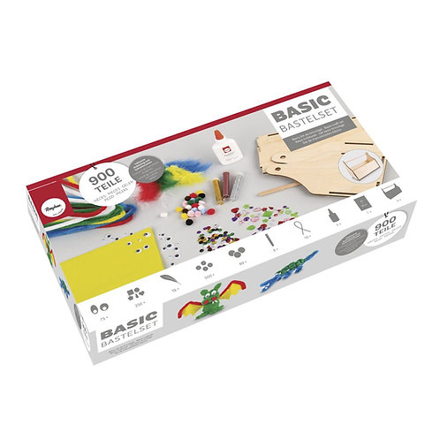 Basic Bastelset 900 Teile 25x12x20cm, mit Holzhenkelbox, Box