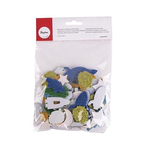 Moosgummi Weltraum Mix Glitter 2-3cm, selbstklebend, SB-Btl 80Stück