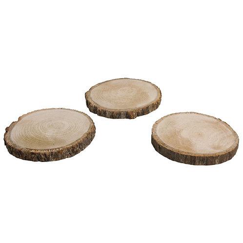 Holzscheibe rund, natur, 10-12cm ø Bund 3Stück