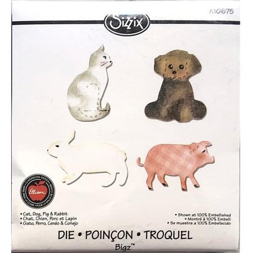 Sizzix Bigz Katze, Hund, Schwein und Hase