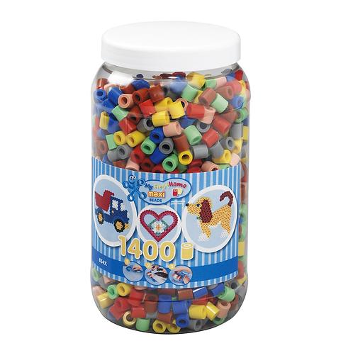 Dose mit Maxi Perlen 10mm, 1400 Perlen Mix 69 (7 Farben)