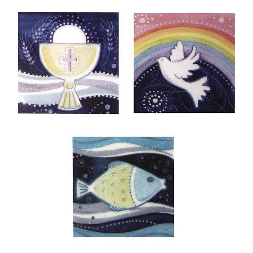 Wachsmotiv christliche Motive 4x4cm, Kelch,Taube,Fisch, SB-Btl 3Stück