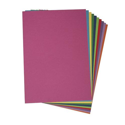 Bastelkarton, farbsortiert, DIN A4 180g/m2, 10 Farben, 100Blatt, bunt