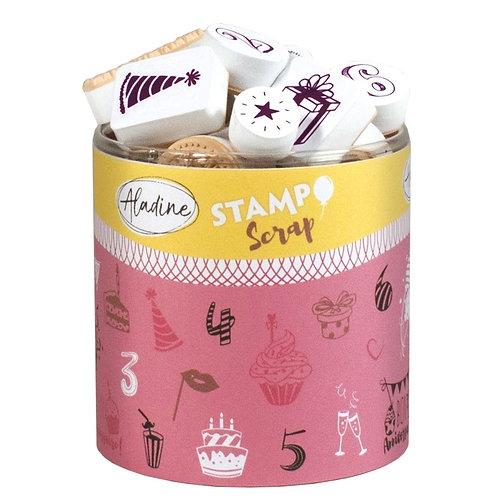 STAMPO Scrap, Stempel/-kissen Geburtstag, 34 + 1 Stk.
