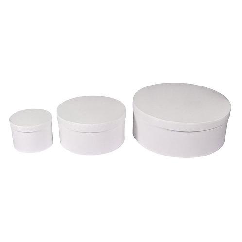 Pappm. Boxen Set, FSC Rec.100% rund, 3 Größen, weiß