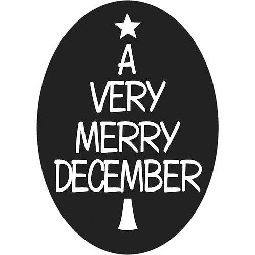 Label A very merry december, 55x40mm, oval, SB-Btl 1Stk.