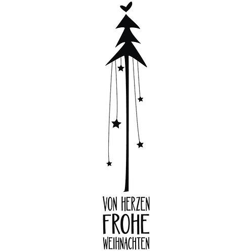 Holz Stempel Von Herzen Frohe Weihnachten, 3x12cm