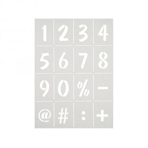 Stencil Schablone A4 Zahlen und Zeichen 16-teilig