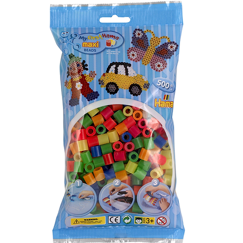 Maxi Perlen 10mm in Beutel, 500 Perlen Mix 51 (6 Neonfarben)