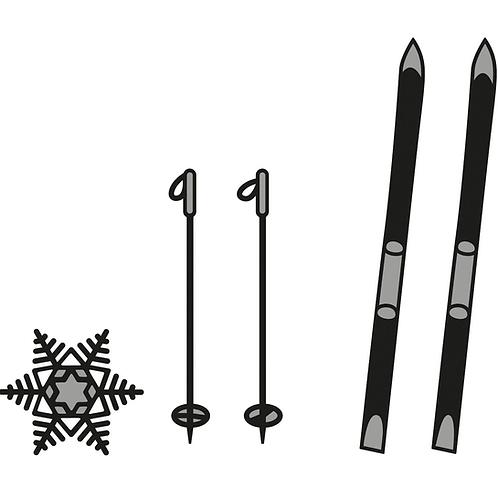 Marianne Design Craftables  Stanzschablone Ski und Schneeflocke