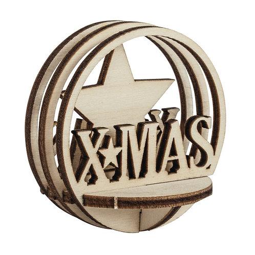 Holz-Steckt. XMAS, FSCMixCred, 5,5cm ø, 5-tlg., natur
