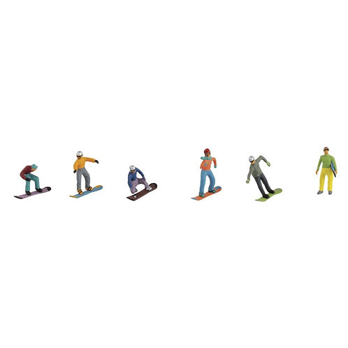Kunststoff Miniaturen Snowboarder sortiert, ca. 1,5-2cm, SB-Blister 6Stück
