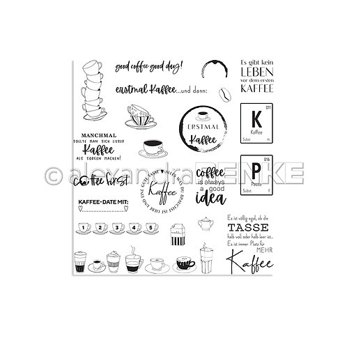 "Clear Stamp Set ""Erstmal Kaffee"""