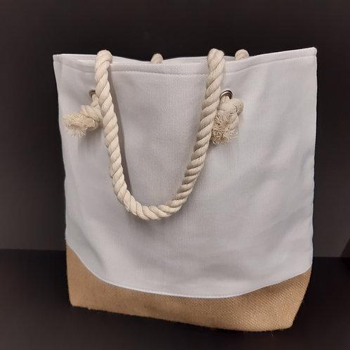 Strandtasche  35.5x46x15cm Jutte und Segeltuch weiss