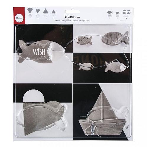Giessform Fische 4 Größen 7,5-14,5 x 3,7-7,4cm, Tiefe 3cm