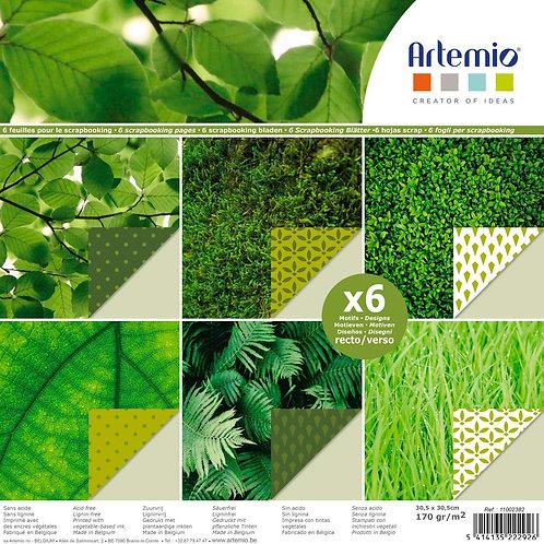 Artemio Scrapbooking Papiere 30.5x30.5cm, 6 Blatt Grün
