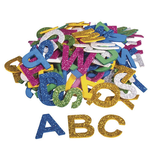 Moosgummi Alphabet Glitter 3cm, selbstklebend, SB-Btl 130Stück